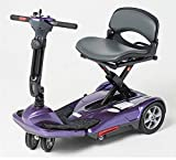 EV Rider Transport Move Manual Folding Scooter - Lithium Battery Lightweight Travel Mobility Scooter (Purple)