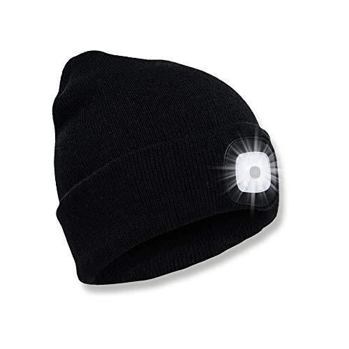 SPGOOD LED Beanie Mütze mit Licht Laufmütze Herren Damen Kappe Lampe USB Nachladbare Mütze Stirnlampe Winter Warm Cap mit LED Licht für Jogging,Camping,Angeln,Walking