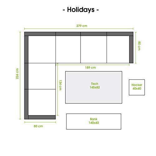 BRAST Poly-Rattan Gartenmöbel Essgruppe Lounge Set Sitzgruppe Outdoor Möbel Garten Garnitur Sofa Holidays Grau Anthrazit - 4