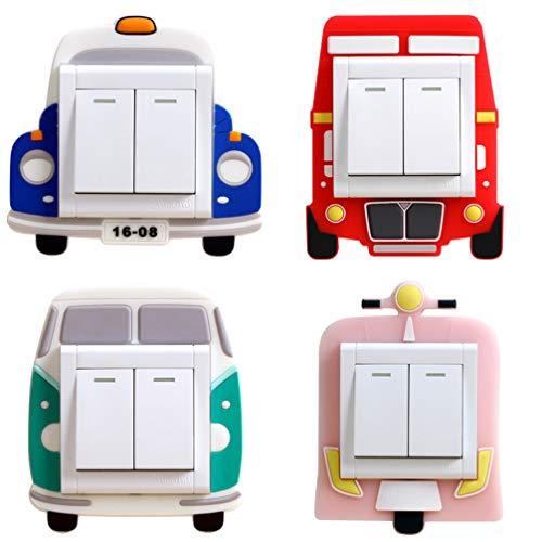 GARNECK 4 Stück wechseln abnehmbare niedlichen Cartoon-Lichtschalter Wandaufkleber Lichtschalter Aufkleber für Wohnzimmer-Schlafzimmer Kinderraum abdecken