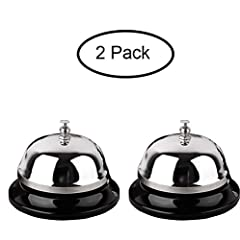 [Detail of Product]: Made of stainless steel, chrome finish and Anti-rust 3.3inch*2.3inch [Durable & Design]: Sturdy and durable construction produces a pleasant and loud ringing and Features a chromed polished dome top and a matte black base [Instru...