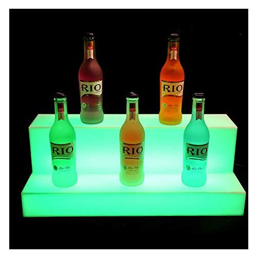 LSGMC Acryl 2 Tier LED beleuchteter Alkohol-Flasche Display Beleuchtetes Flasche Regal, Beleuchtung Langlebige mit Fernbedienung für Brithday Hochzeit Weihnachtsfeier, Club, Bars,60 * 21 * 17cm