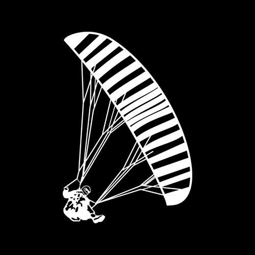 WYJ Auto-Aufkleber, 2 Stück, interessante Paragliding Auto-Aufkleber, reflektierendes Vinyl, Cartoon-Motiv, Schwarz/Silber, 10,8 x 16 cm