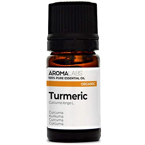 Organic Turmeric Essential Oil - 5ml - 100% Pure, Ecocert Certified Organic - Best Therapeutic Grade Essential Oil - Aroma Labs