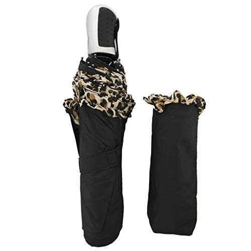 FERETI Paraguas Mujer Negro Leopardo Plegable Pequeño Automatico