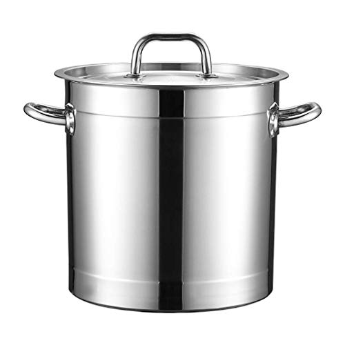Cazos de Cocina, Ollas de sopa con tapa, olla de acero inoxidable 201, olla de sopa espesada comercial / doméstica de catering con tapa, utilizada para estufa de gas / cocina de inducción (20-