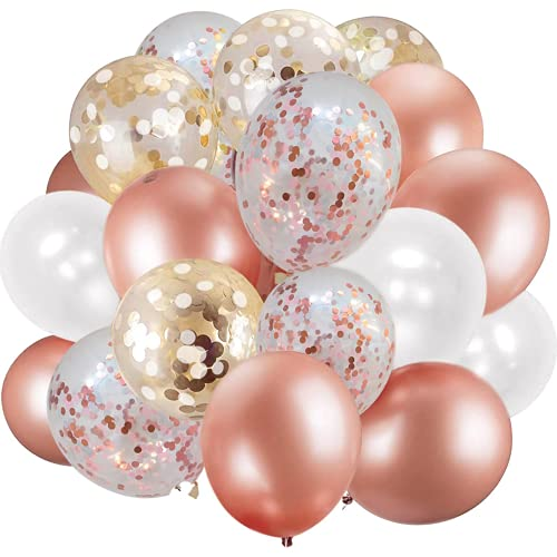 60 Pack Rose Gold Balloons + White Balloons + Confetti Balloons w/Ribbon   Rosegold Balloons for Parties   Bridal & Baby Shower Balloon Decorations   Latex Party Balloons   Graduation and Engagement