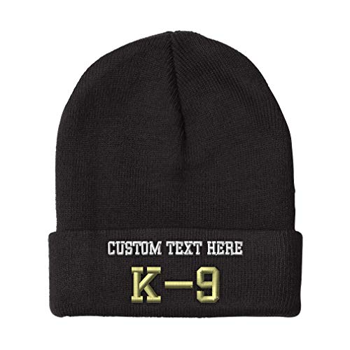 Custom Beanies for Men K-9 Police Embroidery Dog Letters Winter Hats Women Acrylic Skull Cap 1 Size Black Personalized Text Here