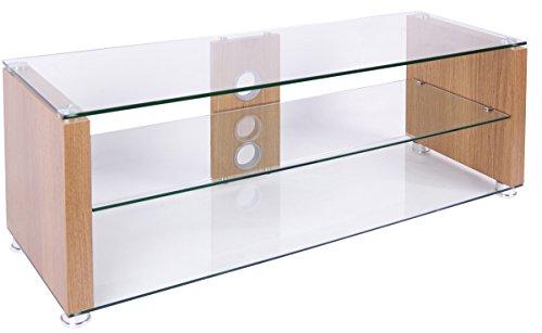 TNW Elegance 1000 Oak Veneer and Clear Glass TV Stand