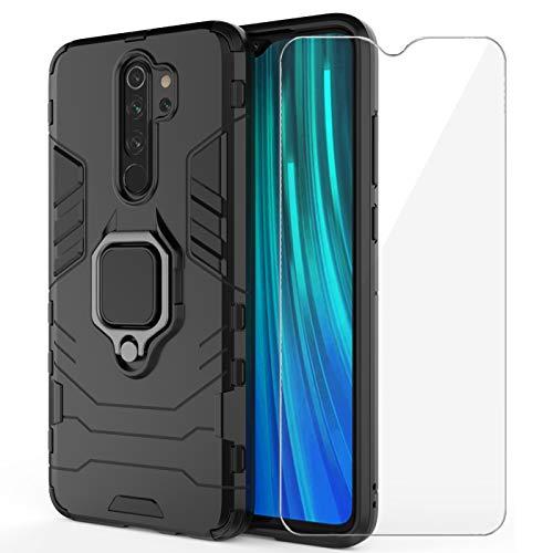 Annhao Funda Xiaomi Redmi Note 8 Pro + Cristal Templado, Carcasa Armor con 360 Grados Anillo iman, Protección Resistente Case para Xiaomi Redmi Note 8 Pro (Negro)
