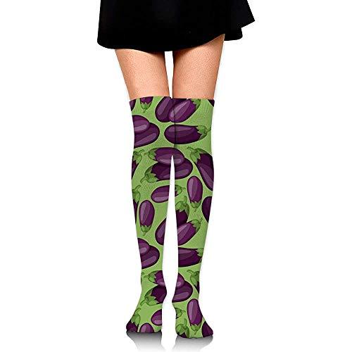 Frische reife Auberginen Damen kniehohe Socken Verrückte Socken Lustige Röhrenbeinstrümpfe