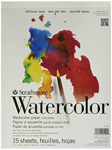 Strathmore (25-109 STR-025-109 15 Sheet Cold Press Watercolor Pad, 9 by 12', 9'x12'