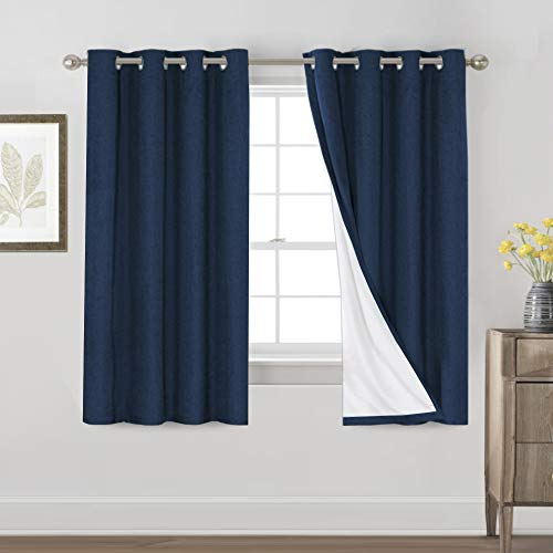 Primitive Textured Linen 100% Blackout Curtains for Bedroom/Living Room Energy Saving Window Treatment Curtain Drapes, Burlap Fabric with White Thermal Insulated Liner (52 x 63 Inch, Navy)