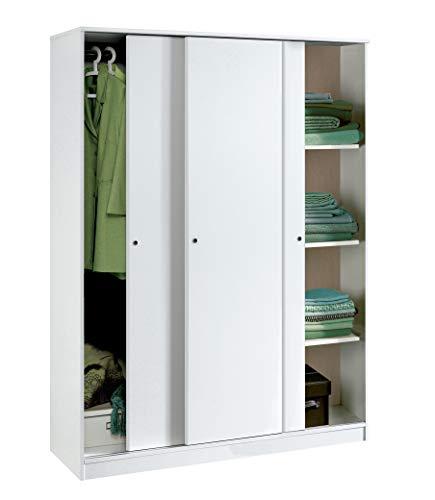 Armario Color Blanco Brillo Grande de 3 Puertas correderas, estantes Regulables, Barra Interior incluida de Dormitorio. 200cm Alto x 150cm Ancho x 55cm Fondo