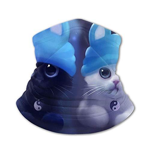 LUSHENG Lindo gato con sombreros para niños polaina para el cuello bandana Ma-sk lavable bufanda cubierta para la cabeza
