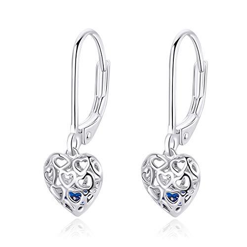 Dangle Drop Heart Hoop Earrings 925 Sterling Silver Dainty Hollow Out Bule Crystal Stud Leverback Earring Best Friend Cute Jewelry for Women Girls