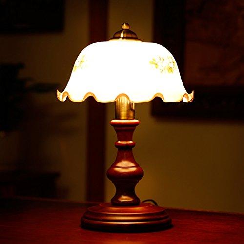 Lampes de table américain Chambre Lampe de Chevet Protection des Yeux Liseuse Créatif Rétro Bois Massif Bois de Caoutchouc Base camélia Abat-Jour Interrupteur d'alimentation E27 42 * 27