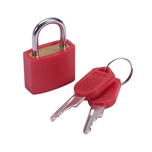 MroMax 南京錠 盗難防止ロック セキュリティロック 亜鉛合金パドロック 亜鉛合金製 ABSシェル 引き出し キャビネット スーツケース ツールボックス 22.5mm幅 キー付き レッド ショートビームが開かない 1pcs