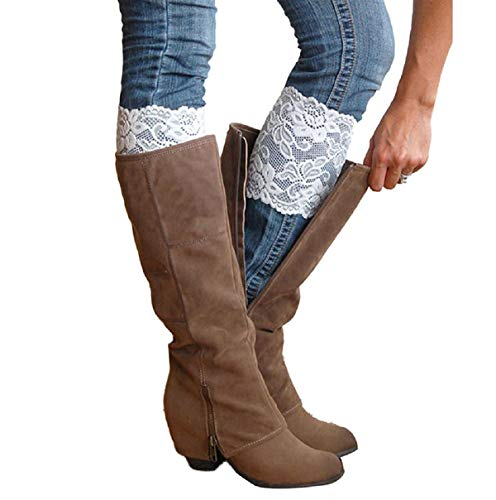 2 Pairs Stretch Lace Boot Cuffs Leg Warmers Socks Topper Cuff for Women, White