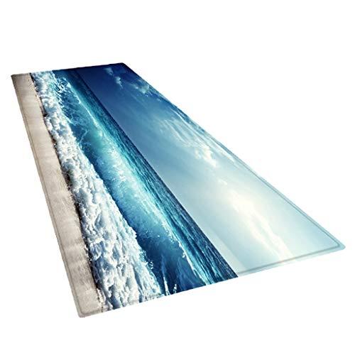 F Fityle Küchenläufer waschbar rutschfest Teppichläufer Küchenteppich Teppich Läufer für Küche Flur - Meer