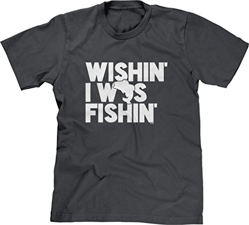 Blittzen Mens T-Shirt Wishin I was Fishin, M, Charcoal (Best Way To Fillet A Bass)