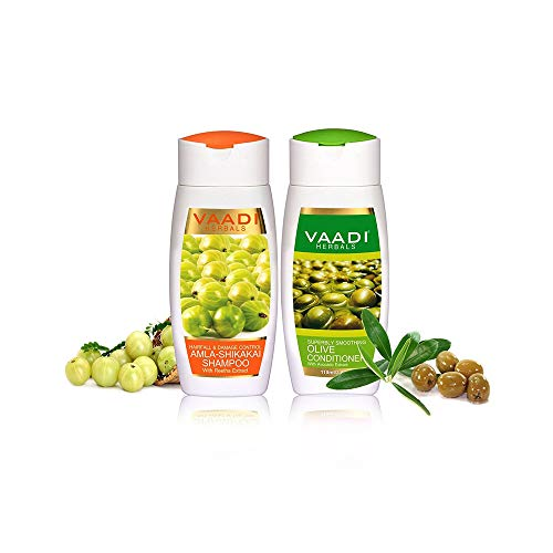 Organic Amla with Shikakai & Reetha Shampoo and Olive Conditioner Hair fall & Damage Control - Paraben Free -Sulphate Free - Scalp Therapy - Moisture Therapy - For All hair Type - 2 X 110 Ml