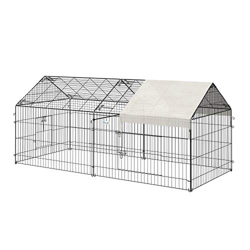 """PawHut 87"""" x 41"""" Outdoor Metal Pet Enclosure Small Animal Playpen Run for Rabbits, Chickens, Cats, Small Animals, Black & White"""