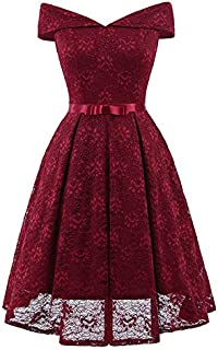 Extaum Women Lace Skater Dress Off the Shoulder Bow Pleated A-Line Bridesmaid Evening Party Gown Dress