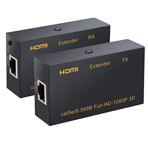Neoteck HDMI Extender 60 Metros HDMI Repetidor (TX + RX) 1080P 3D sobre un Solo Cable Ethernet RJ45 cat5e Cat6 para ull-HD-1080P, 3D, HDCP, DTS, Dolby para HDTV, Reproductor de DVD, PS3, PS4