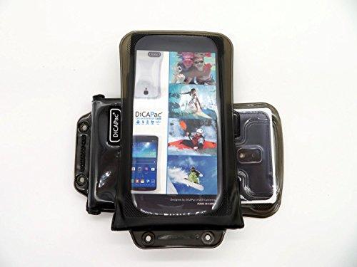 DiCAPac WP-C2 Universelle wasserdichte Hülle für Oppo Find 7 / Find 7a / N1 Mini / R5 / U3 Smartphones in Schwarz (Doppel-Klettverschluss, IPX8-Zertifizierung zum Schutz vor Wasser bis 10 m Tiefe; integriertes Luftkissen treibt auf dem Wasser und schützt das Gerät; extraklare Polycarbonat-Fotolinse; inklusive Trageriemen)
