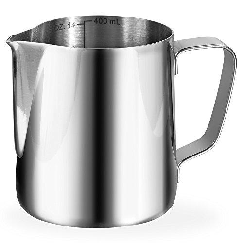 Anpro Milchkännchen 400ml / 14 fl.oz. Milk Pitcher Milchkanne aus Edelstahl, ideal für Cappuccino, Milchaufschäumer, Silber, MEHRWEG