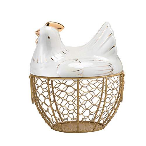 Panier à œufs en céramique en forme de poulet - Panier à œufs décoratif pour la cuisine - Panier de rangement pour la décoration de la cuisine - Organisateur de fruits et collations - Doré et blanc
