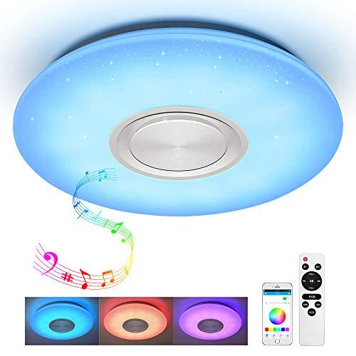 JDONG Kinderzimmer Deckenleuchte mit Bluetooth Lautsprecher Fernbedienung und APP-Steuerung 24W Farbwechsel, Sternenhimmel, dimmbar, 2800-6500 Kelvin