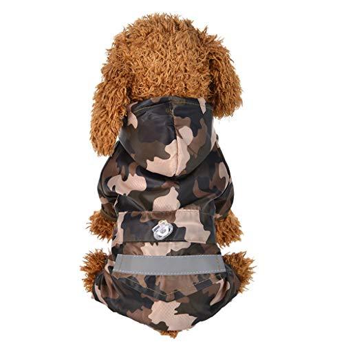 BBring Camouflage Regenmantel für Katzen Hunde, Kapuzen Hundejacke Wasserdicht Hundemantel mit Tasche Haustier Winterpullover Warm Hundekleidung für Kleine Hunde Hündchen Kätzchen (L, Camouflage)