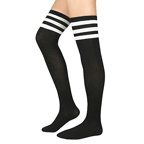 Zando Women's Cotton Athlete Triple Stripe Tights Over The Knee Thigh High Socks Casual Above Knee Socks Black