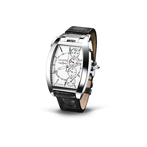 Eberhard & Co. Chrono 4 Temerario Uhr Armbanduhr Automatik Edelstahl Gehäuse Leder Armband