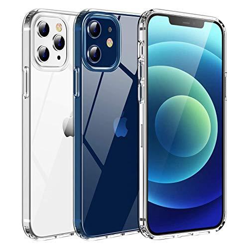 Seomusen Ultra Crystal Hülle Kompatibel mit iPhone 12/12 Pro (6,1 Zoll) [Anti Gelb] Transparent Weich TPU Bumper + PC Rückseite Handyhülle Stoßfest Silikon Anti-Scartch Schutzhülle-Transparent