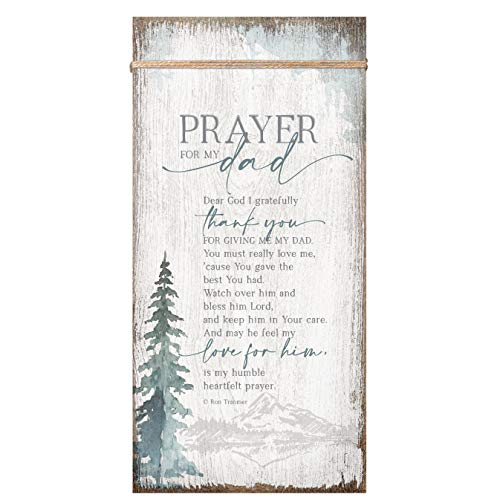 Prayer for My Dad Wood Plaque Inspiring Quote 6 3/4 in x 13 5/8 in - Classy Vertical Frame Wall Hanging Decoration | Watch Over him and Bless him Lord | Christian Family Religious Home Decor Saying