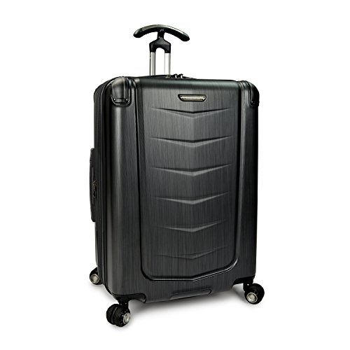 Traveler's Choice Silverwood Polycarbonate Hardside Expandable Spinner Luggage, Brushed Metal, Checked-Medium 26-Inch