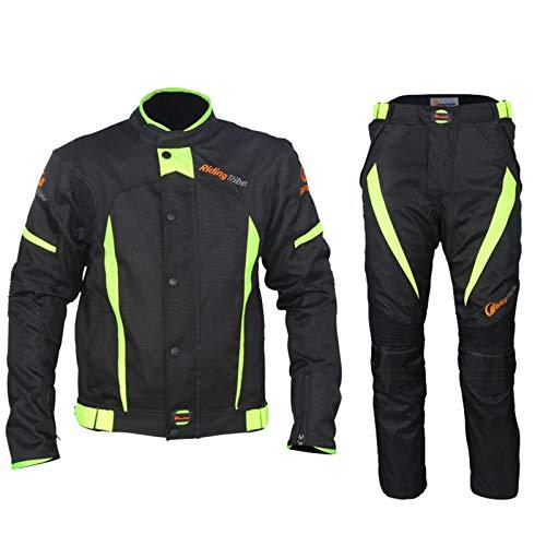 QQA Herren Motorradjacke mit Protektoren Cordura Textil Motorrad Jacke (Jacke + Hose) für Radfahren Reiten Motorrad Fahren Schilauf,Schwarz,5XL