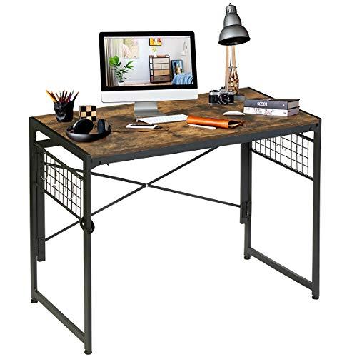 Kamiler Mesa plegable para ordenador de estudio, moderna, simple, industrial, plegable, para el hogar y la oficina, resistente al agua, placa duradera y marco de metal