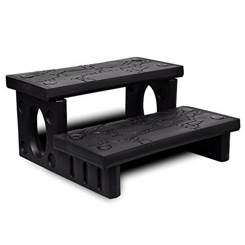 vidaXL Mini Escalera 2 Peldaños Jacuzzi Plástico Negro Escalón Bañera Piscina