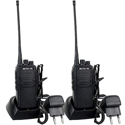 Retevis RT1 Walkie Talkie Großer Reichweite und Headset, Robustes Walkie Talkie mit Hochleistungsantenne, 3000-mAh-Handtransceiver, Alarm-Funkgerät für Baustellen (Schwarz, 2 Stück)