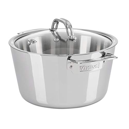 Viking Contemporary 3-Ply Stainless Steel Dutch Oven with Lid, 5.2 Quart