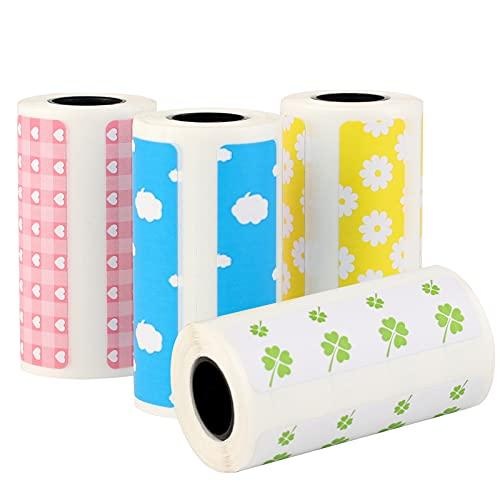 4 Rollos Papel Térmico para La Impresora Rollo de Papel de Impresión Colores Etiqueta Adhesiva de Color para Impresora Papel Térmico Compatibles con 800 Hojas (58 * 30 mm/2.17 * 1.18 in)