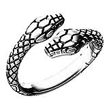 Aukmla Anillo de serpiente vintage de plata gótica punk anillos retro ajustable anillo abierto anillo animal joyería para mujeres y niñas
