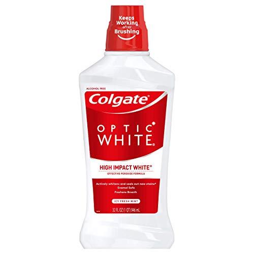 Colgate Optic White Whitening Mouthwash, Fresh Mint, 32 Ounce