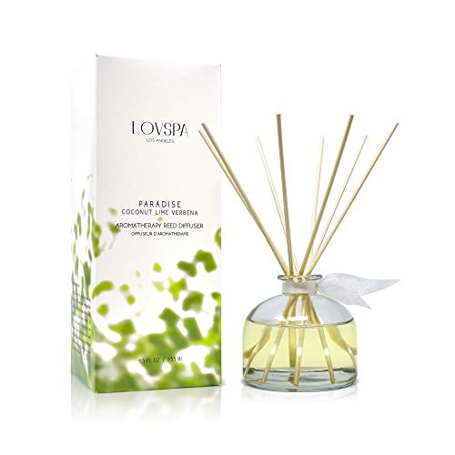 LOVSPA Coconut Lime Verbena Scented Reed Sticks Diffuser Set | Paradise Fragrances | Tropical Blend of Lemon Verbena, Fresh Limes & Coconut | Made in The USA | Great Gift Idea