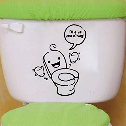 Toiletstickers grappige pinguïn/knuffel/glimlach/denken wassen badkamer deur Decor voor huisdecoratie Vinyl Decals,24.5 * 23Cm