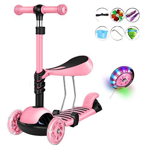ZLYJ 2-in-1 Kinder Roller Faltbar Scooter Laufrad mit abnehmbarem Sitz höhenverstellbarer Lenker und LED Leuchtrollen für Babys/Kinder ab 2-12 Jahren